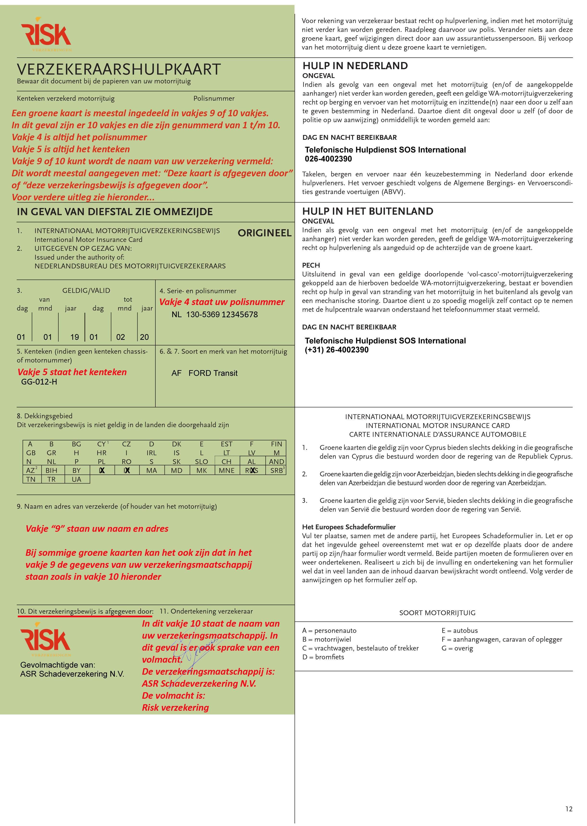 Verzekeringsbewijs uitleg